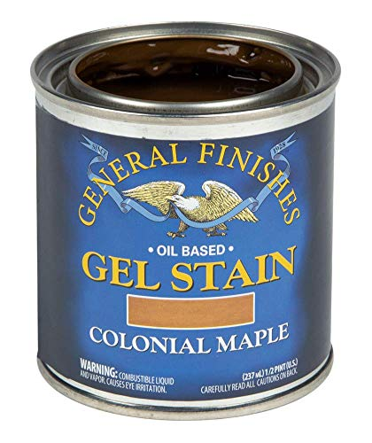 General Finishes Oil Base Gel Stain, 1/2 Pint, Colonial Maple