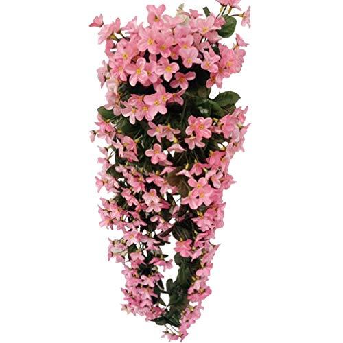 JIAJBG Artificial Rattan 4 Petals Simulation Green Plants Hanging Flowers Violet Fake Vine Garland for Wedding Home Party Garden Craft Decoration Artificial Flowers
