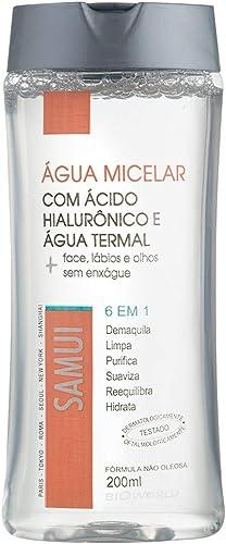 Água Micelar Samui com Ácido Hialurônico e Água Termal, Limpa, Purifica e Hidrata Frasco com 200 ml, BioWorld