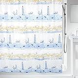Spirella colección Nave, Cortina de Ducha Textil 180 x 200, 100% Polyester, Azul, poliéster, Multicolor