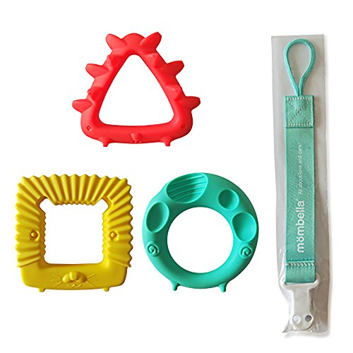 Great Deal! Mombella Educational Geometry Teether(mouthing) Toy Set(3 Hardness 3 Shapes 3 Colors in ...