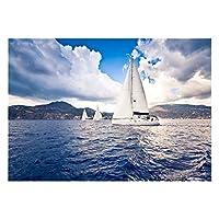 アクアリウム 魚 タンク 背景 ポスター 接着 装飾 グリーン 貼り付け簡単 丈夫 海 帆船 全3サイズ - 122×46cm