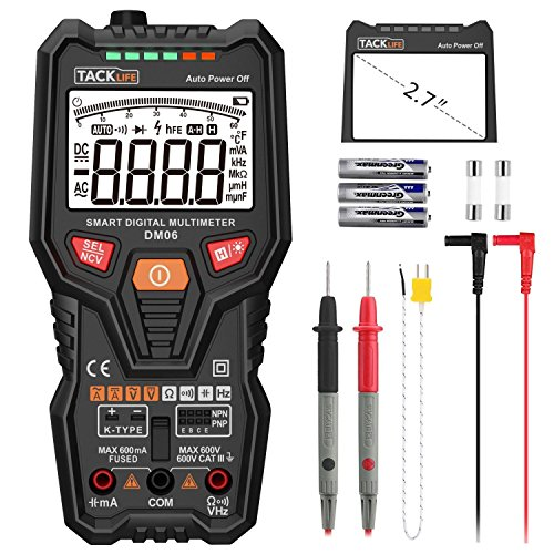 Multimerter, DM06 TRMS 6000 Counts Tester Auto-Ranging Electronic Amp Volt Ohm Voltage Meter Multimeter with Frequency, Temperature, Transistor, Continuity Test Tester