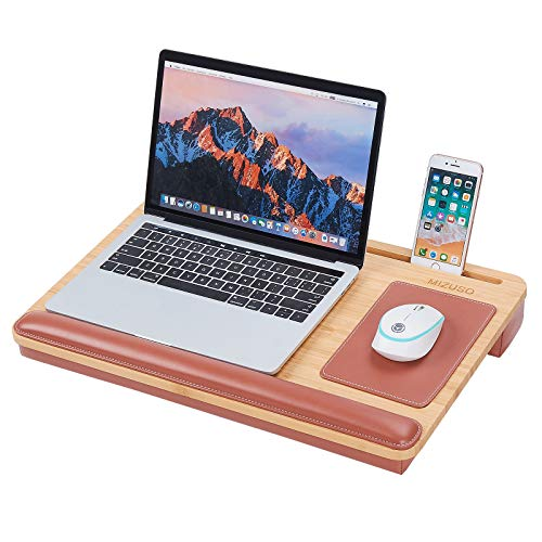 MIZUSO Laptop Lap Desk, Lap Desk for Laptop with Mouse Pad & PU Leather Wrist Pad & Heat Dissipation, Home Office Student Use as Computer Laptop Stand, Book Tablet, Fits up to 15.6 inch Laptop(Brown)