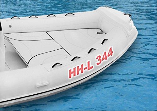 Lausitzwerbung Schlauchboot-Beschriftung bis insgesamt 16 Zeichen Kennzeichen 10 cm freie Farb- und Schriftwahl