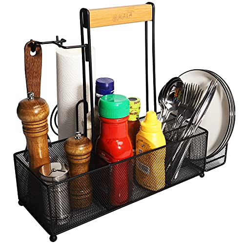 OMAIA Steel Organizer with Paper Towel Holder - Picnic Caddy for Plates and Utensils - RV Accessories for Inside - Camping Supplies - Condiment Grill BBQ Caddy - Cleaning Caddy for Cleaning Supplies