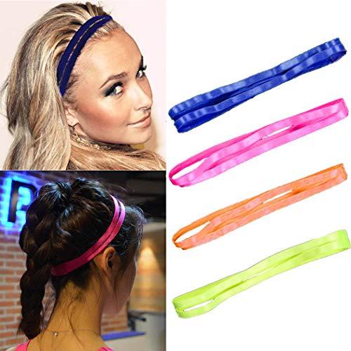 Zoestar Yoga Hardlopen Hoofdbanden Sport Niet Slip Dubbele Hoofd Wrap Elastische Fitness Haarband voor Vrouwen en Meisjes(Pack van 4)