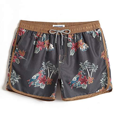 MaaMgic Short de Bains Homme Maillot de Bain Pants Court de Sport Vintage 80 90 Séchage Vite Bien pour Vacance a la Plage, Perroquet Coco, M
