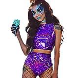 UMOOIN Traje de Mujer Rave para Mujer 2 Pieza, 2021 Verano Shiny Festival Festival Top y Pantalones Cortos Botines Bottoms Metallic Hologrape Rainbow Trajes,Púrpura,3XL