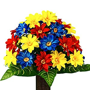 Sympathy Silks Artificial Cemetery Flowers – Realistic – Outdoor Grave Decorations – Non-Bleed Colors, and Easy Fit – Blue Red Yellow Dahlia Bouquet