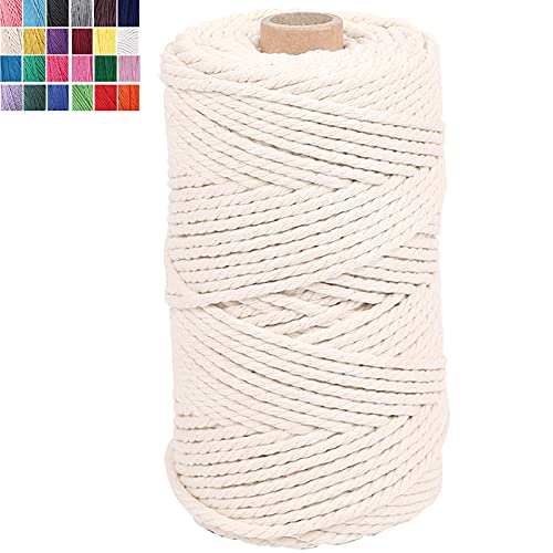 JAMYOK 100% Natural Macrame Cotton Cord,3mm x 109 Yards 4 Strand Twisted Cotton Rope Macrame Yarn for Wall Hanging, Plant Hangers,DIY Crafts, Christmas, Wedding Décor (3mm x 109yards, Beige)