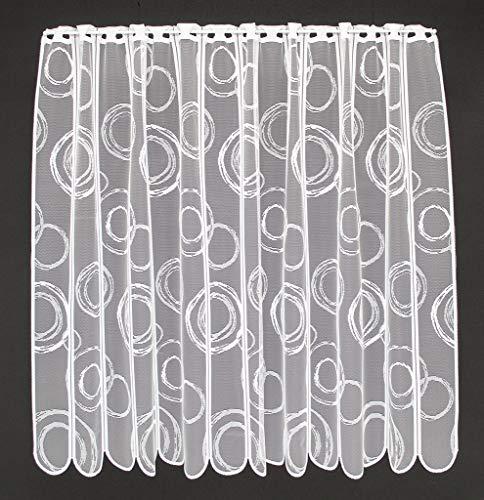 Scheibengardine Kringel 90 cm hoch | Breite der Gardine durch gekaufte Menge in 11 cm Schritten wählbar (Anfertigung nach Maß) | Weiß | Vorhang Küche Wohnzimmer