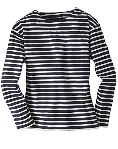 Compass Bretonisches Fischerhemd Unisex Klassisch Gestreift Langarmhemd Farbe Marine/Natur, Größe M