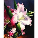 CDNY Lotus, Rose, marguerite-5D Peinture Diamant-Complet Toile Murale Enfant-Toile pour Décoration Murale maison40x50cm