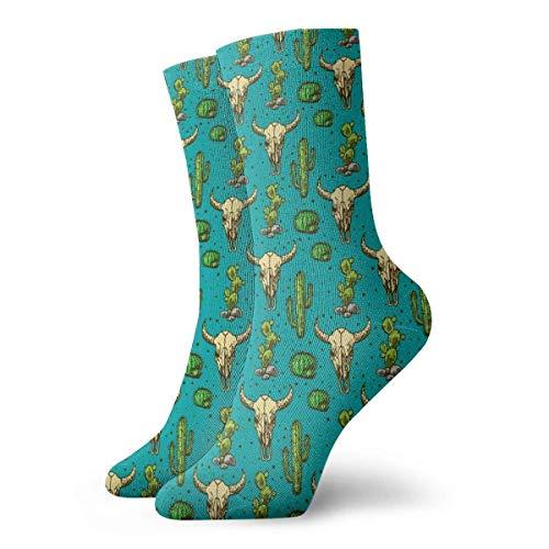 QUEMIN Cactus y calavera de toro Hombres Mujeres Calcetines deportivos Algodn Calcetines largos para correr Regalos Calcetines unisex Calcetines de sudor Calcetines transpirables
