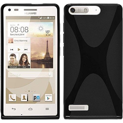 PhoneNatic Case kompatibel mit Huawei Ascend P7 Mini - schwarz Silikon Hülle X-Style + 2 Schutzfolien