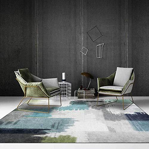 Outdoor-QJ Alfombra Moderna Grande Antideslizante Fácil de Limpiar Diseño Decoración del hogar Arte Abstracto Acuarela Azul Gris 80x250CM