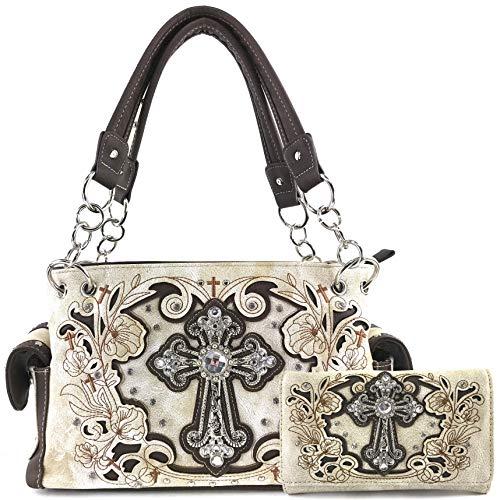 Zelris Western Floral Blossom Cross Women Conceal Carry Handbag Wallet Set (Beige)