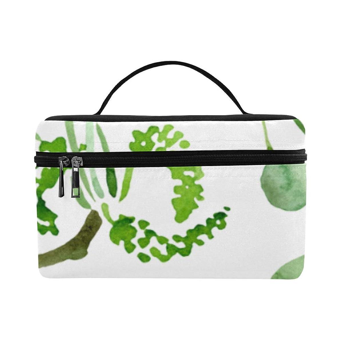 仕える余分なリースKWESG メイクボックス 緑 イチョウの葉 コスメ収納 化粧品収納ケース 大容量 収納ボックス 化粧品入れ 化粧バッグ 旅行用 メイクブラシバッグ 化粧箱 持ち運び便利 プロ用