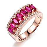 Naturale Rubino Pietra preziosa Marquise 585/1000 (14 carats) 14K Oro rosa Diamante Eternità Promettere Nozze Fidanzamento anello per donne