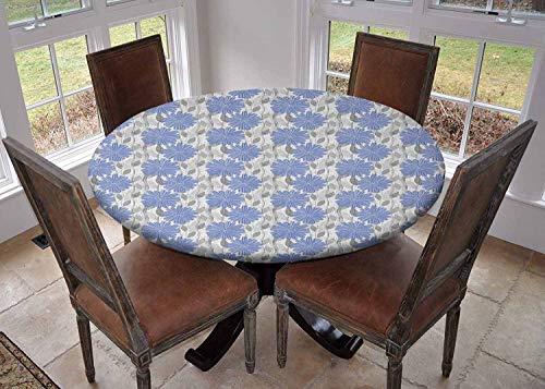 Ronde tafelkleed keuken decoratie, tafelblad met elastische randen, Tegel Net Lente Bloemen in Rechthoekige vorm Afbeelding Kolen Grijs Geel en Wit, partij tafelkleed