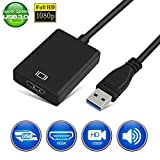 USB to HDMI Adapter,1080P HD Audio Video Converter, USB 3.0/2.0 to HDMI Multiple Monitors Cable for PC Laptop Projector Monitor HDTV Compatible with Windows XP 7/8/8.1/10.Not Support Mac, Linux, Vista