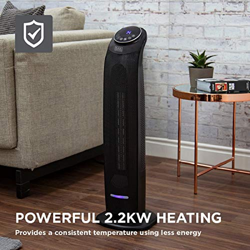 Black + Decker BXSH44005GB Ceramic Tower Fan Heater with 8 Hour Timer and 60° Oscillation, 2.2 kW, Black
