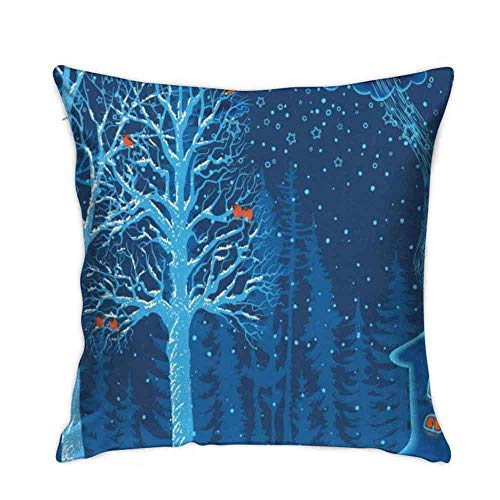 huatongxin 18in*18in Blue Forest Winter Snow Bullfinches sofa bed home car decoration pillow case cushion cover