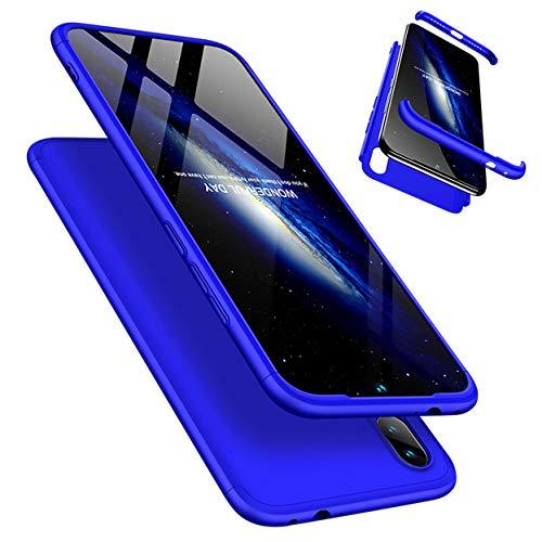 Funda Xiaomi Redmi Note 7/Note 7 Pro 360°Caja Caso + Vidrio Templado Laixin 3 in 1 Carcasa Todo Incluido Anti-Scratch Protectora de teléfono Case Cover para Xiaomi Redmi Note 7/Note 7 Pro (Azu