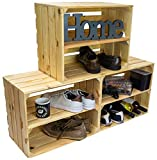 Zapatero de madera natural sin tratar, cajas de madera maciza, cajas de vino, estanterías, dimensiones 50 x 40 x 29 cm (cada caja) (juego de 3 unidades Johanna longitud)