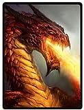 ferocity Dragon Super Soft Plush Queen Size Blanket 58' x 80' (Large)
