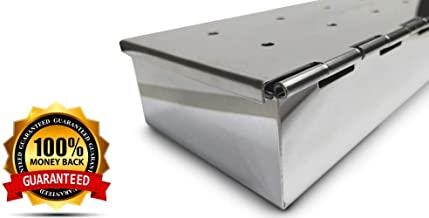 Smoker Box for Your Propane Gas Grill or Charcoal BBQ - Char Broil Smoker Flavor Meat with Wood Chips in 25% Thicker and Hinged Stainless Steel Grilling Accessories - Tool WON'T WARP