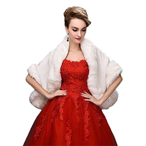 CHITONE Women's Faux Fur Wrap Cape Stole Shawl Shrug for Wedding/Party/Show,White