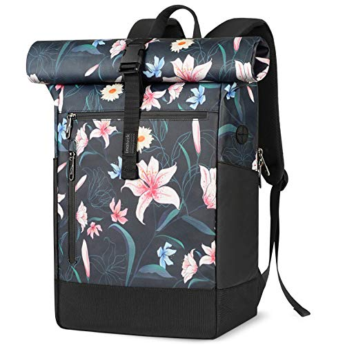 Inateck Laptop Backpack Womens 17 Inch Splash-proof Antitheft Roll Top Rucksack for Cycling Business Travel with Headphone Port - Lily