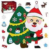 Minterest Albero di Natale in Feltro, Albero Natale Feltro per Bambini con 22 PCS Adornos Albero Natale Feltro Albero di Natale a Parete