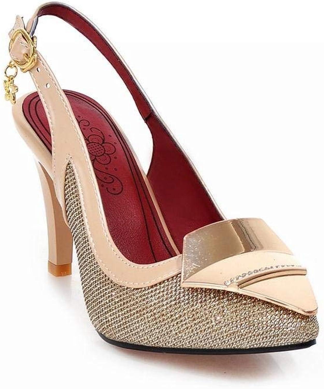 Wallhewb Summer Womens High Heel Mary Jane Pumps shoes Sandal gold Rubber Sole Elegant Dress Skinny No Grinding Feet Joker Closed Toe Pointed Toe Sweet Girls gold 8 M US Pumps Sandals