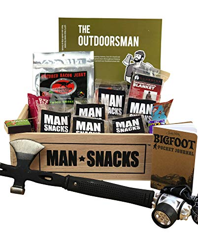ManSnacks - THE OUTDOORSMAN - Awesome gear and grub for the outdoors man, all packed in a manly wooden gift box. It's a gift basket for real men.