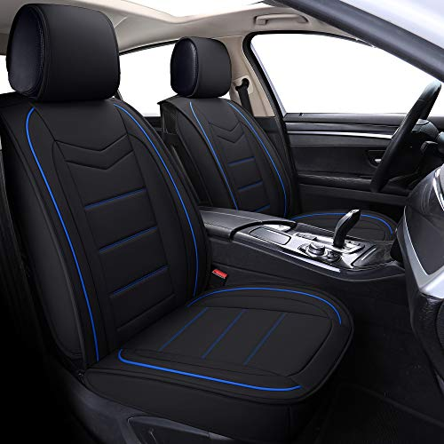 Coverado Leather Car Seat Covers, Waterproof Faux Leather Automotive Vehicle Cushion Cover, Universal Fit for Cars SUV Pick-up Truck(Front Pair, Black-and-Blue)