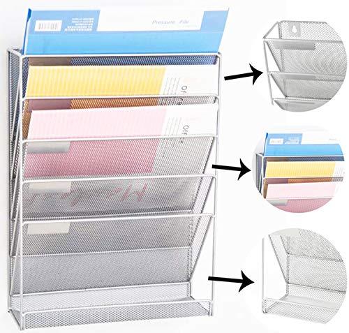 Portadocumenti a rete impilabile a 5 ripiani, organizer da scrivania per accessori, vassoio per carta e lettere (argento)