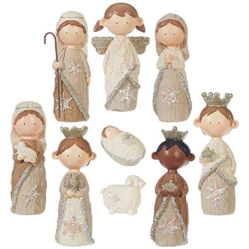 RAZ Imports - 4.5' Faux Knit Christmas Nativity Set of 9 Pieces