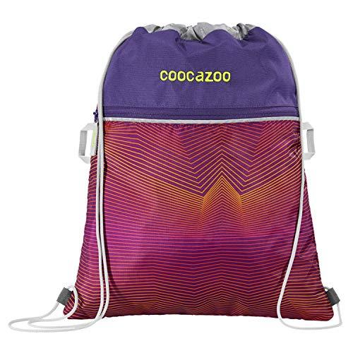 """Coocazoo Sportbeutel RocketPocket """"Soniclights Purple"""", lila, mit Reißverschlussfach und Kordelzug, reflektierende Elemente, Schlaufen zur Befestigung am Schulrucksack, für Mädchen, 10 Liter"""