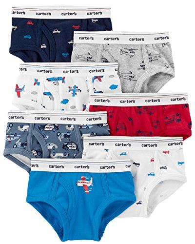 Carter's Boy's 7-Pack Weekday Stretch Cotton Panties, Vehicles, 2-3T