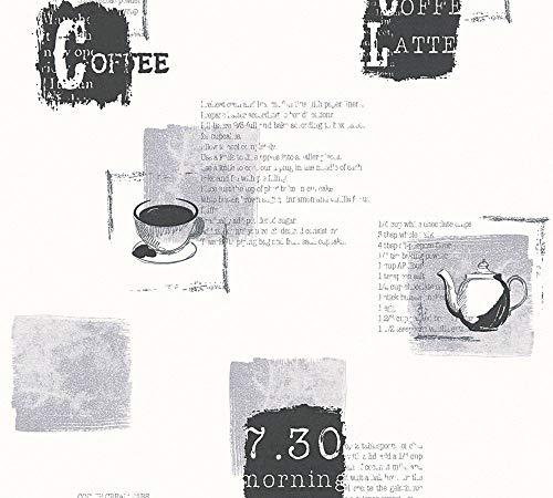 A.S. Creation 32733–1Kitchen Dreams cafetera y tetera diseño papel pintado, color beige/marrón/crema, blanco/negro, 10,05 m (Länge) x 0,53 m (Breite)