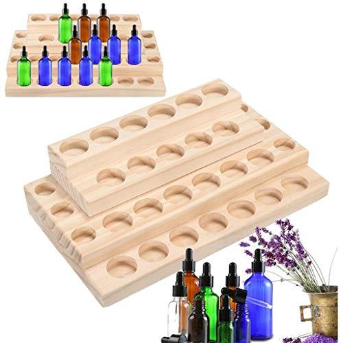 PhantomSky 30 Löcher Holz Organizer Aromatherapie Geschenk-Box Halter Ätherische Öle Flaschen Aufbewahrung Display Regal - Geeignet für Nagellack, Duftöle, Ätherisches Öl, Stain und Lippenstift