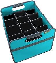meori Foldable Wine Carrier 12 Slot Azure Blue Collapsible Liquor Storage Travel Carry Case Bottle Shopping Car RV Beach Lake Park