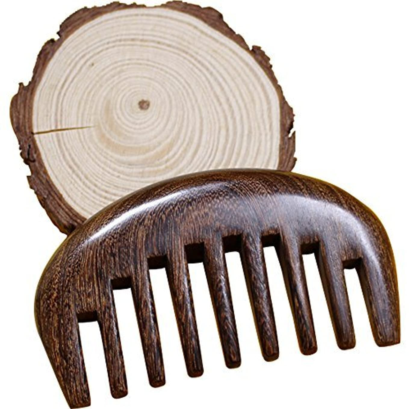潤滑する未亡人アンケートWood comb Wooden wide tooth hair comb detangler brush -Anti Static Sandalwood Scent handmad with gift package [並行輸入品]