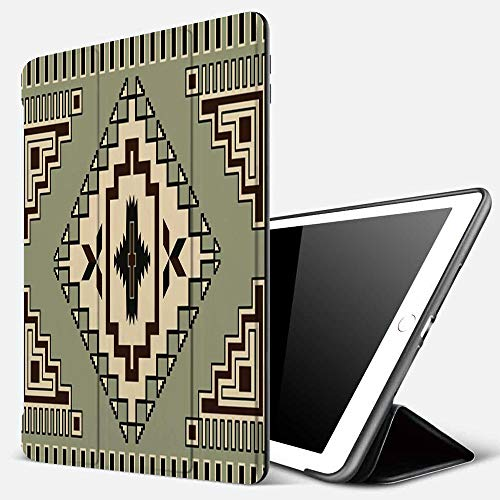 iPad 9.7 inch 2017/2018 Case/iPad Air/Air 2 Cover,Primitive Culture Pattern Native American Ornament Orient Tribal Elements Print,PU Leather Shockproof Shell Stand Smart Cover with Auto Wake