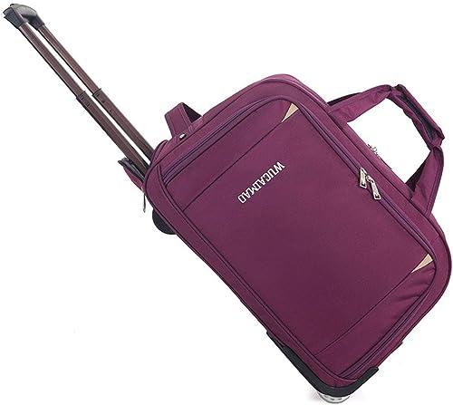 GJF Sac à roulettes Pliable en Tissu Oxford Grande capacité Sac de Voyage léger pour Camping Violet Violet L