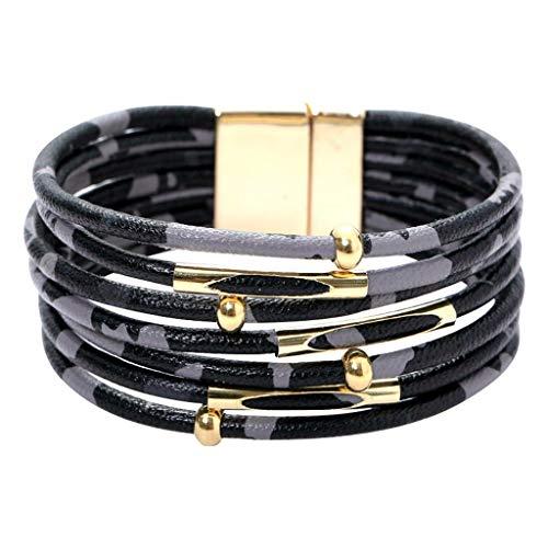 erthome Nouveau Style Branché Magnétique Multicouche Léopard Dames Cuir Bracelet Bijoux, Mode Cadeau à Jeunesse ou Petite Amie ou Femme ou Fille