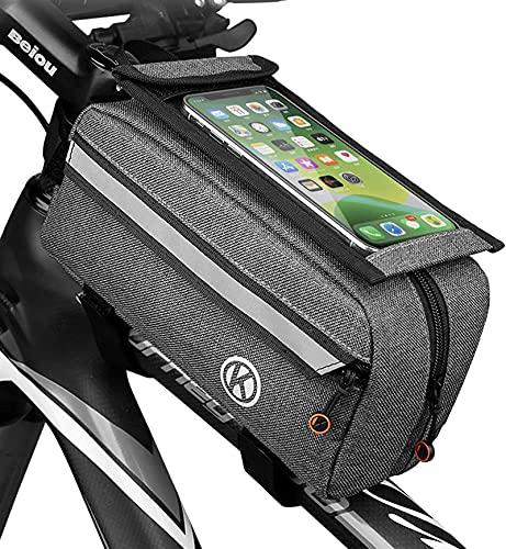 XINGDONG Bolso de bicicleta, bicicleta de montaña, bolsa de haz delantera, bolsa de teléfono móvil, bolsa impermeable, pantalla táctil de bicicleta, bolsa de tira reflectante de gran capacidad durable
